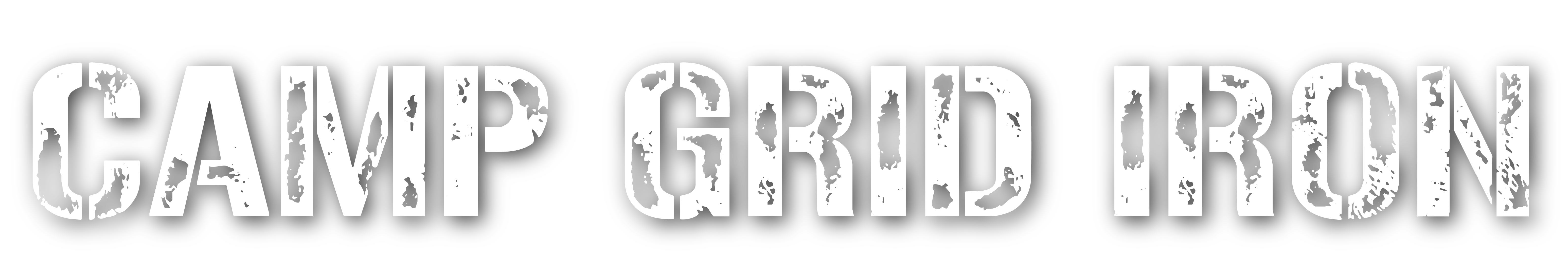 Camp Grid Iron logo written in distressed military lettering